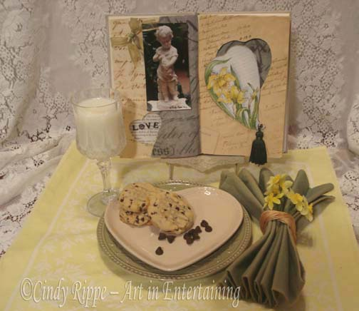 Mixed Media, Altered Art, milk and cookies, Valentine's Day, Daffodil painting, tablescape, Cindy Rippe