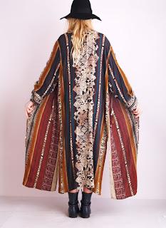 Vintage 1980's Bohemian stripe floor length kimono jacket with side slits.