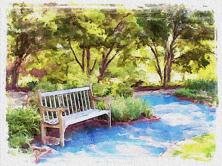 Jlfiala watercolor paintings landscape arboretum for Park bench painting