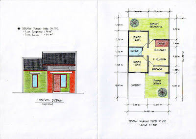 desain rumah tipe 27