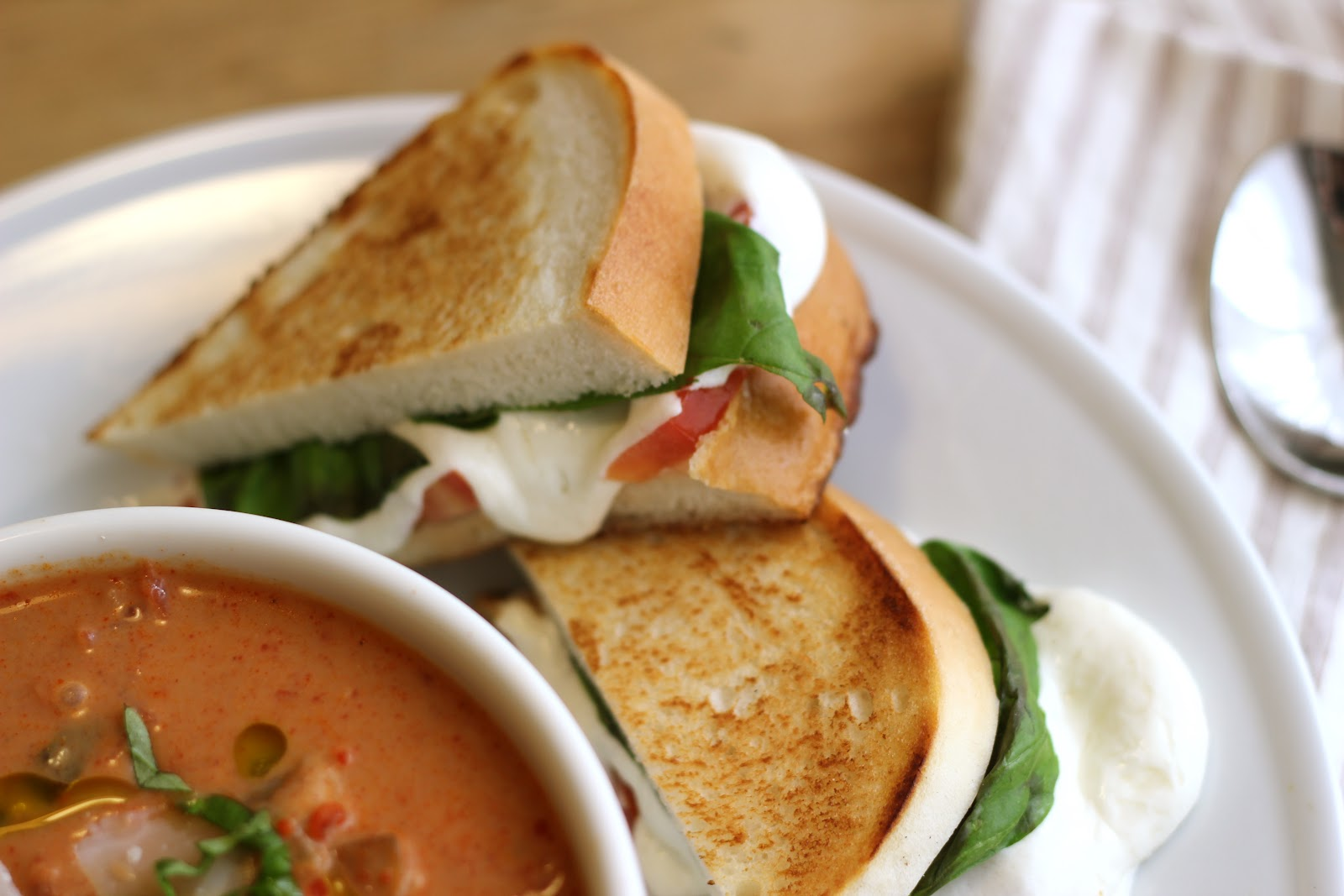 ... Vegetable Cream Soup & Fresh Mozzarella, Tomato & Basil Grilled C...