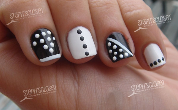 Easy Nail Art Black and White