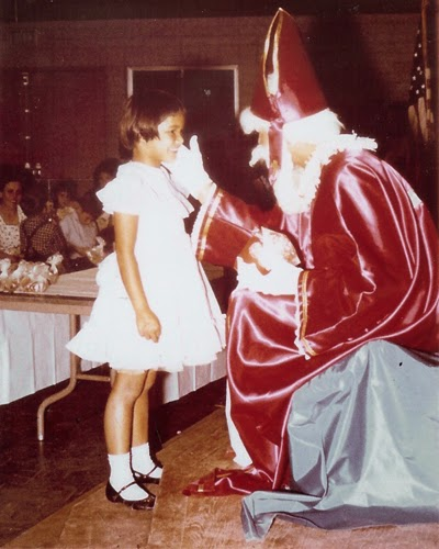 Oma about 50 years ago trying to convince Sinterklaas that she has been a good girl.