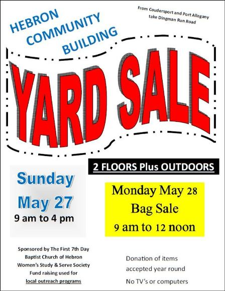 5-27/28 Yard Sale, Hebron, PA