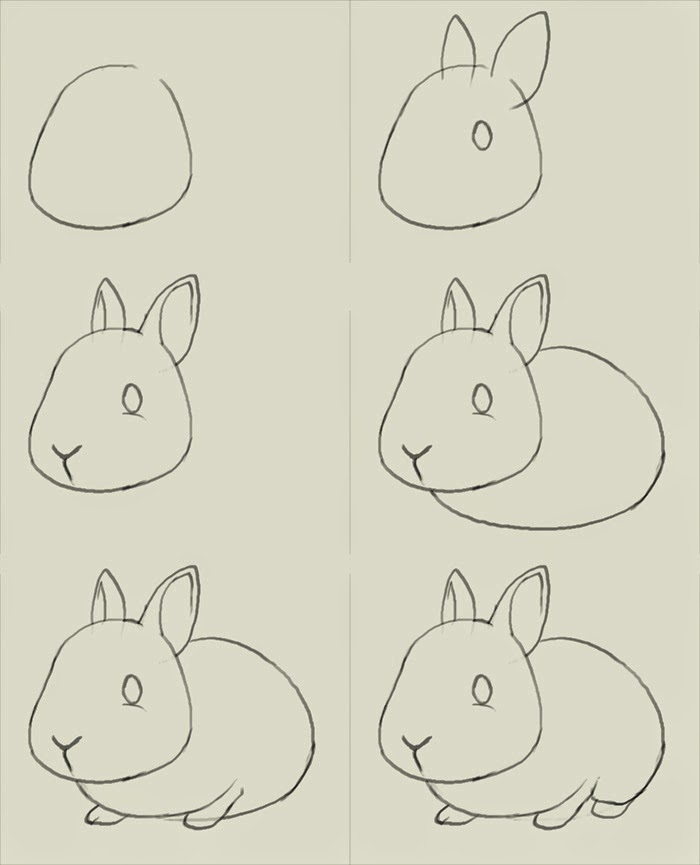 how to draw a simple bunny step by step