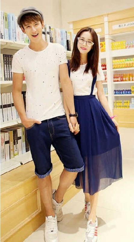 Jual Couple Dress Bahan Denim di Jakarta Warna Biru Keren
