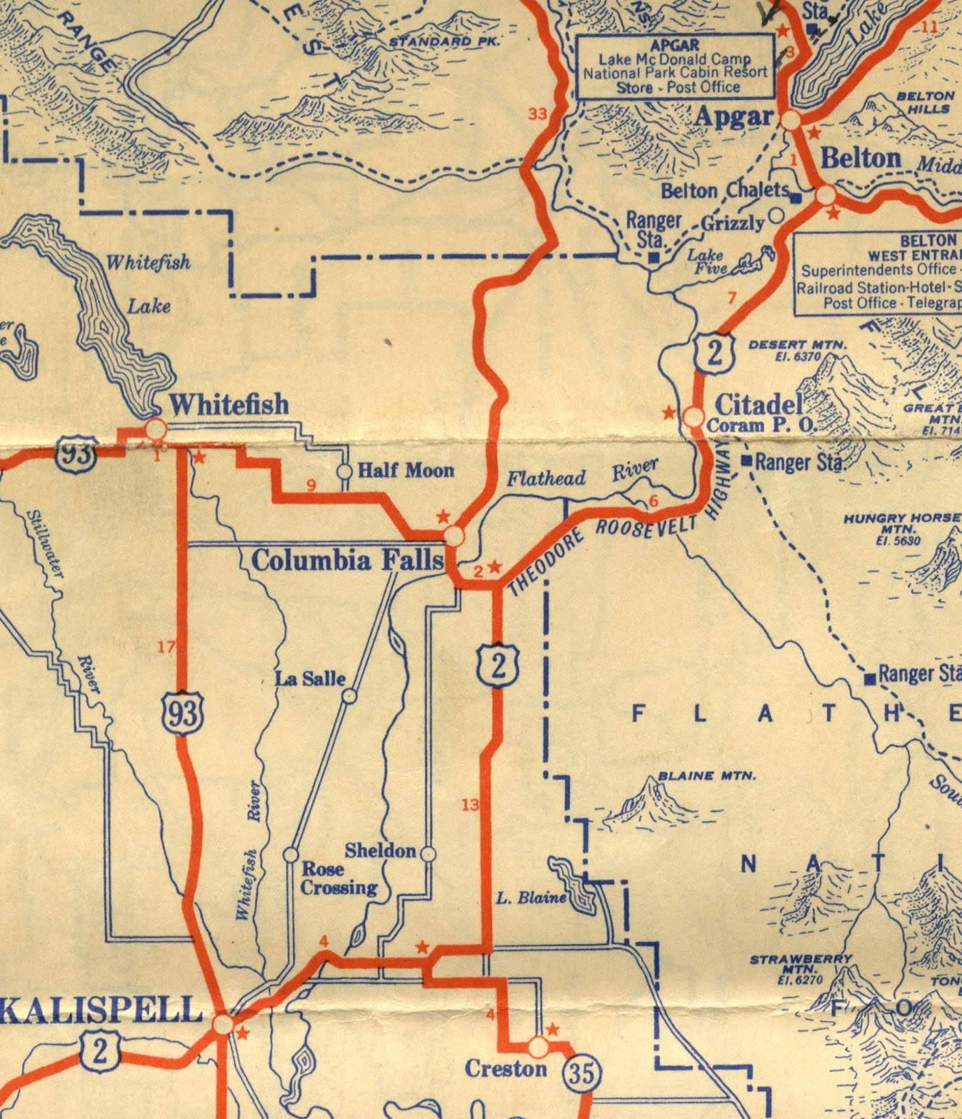 robert s 1936 glacier national park map