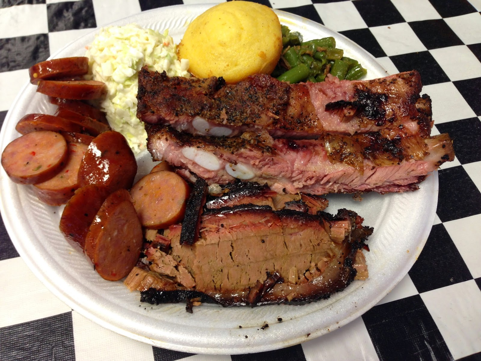 A good lookin' three meat plate at Petty's BBQ