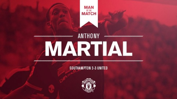 Antony Martial Man of the Match Southampton vs United 2-3