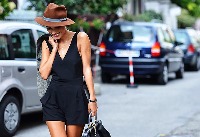 street style fashion week spring 2014, jumpsuit, hat