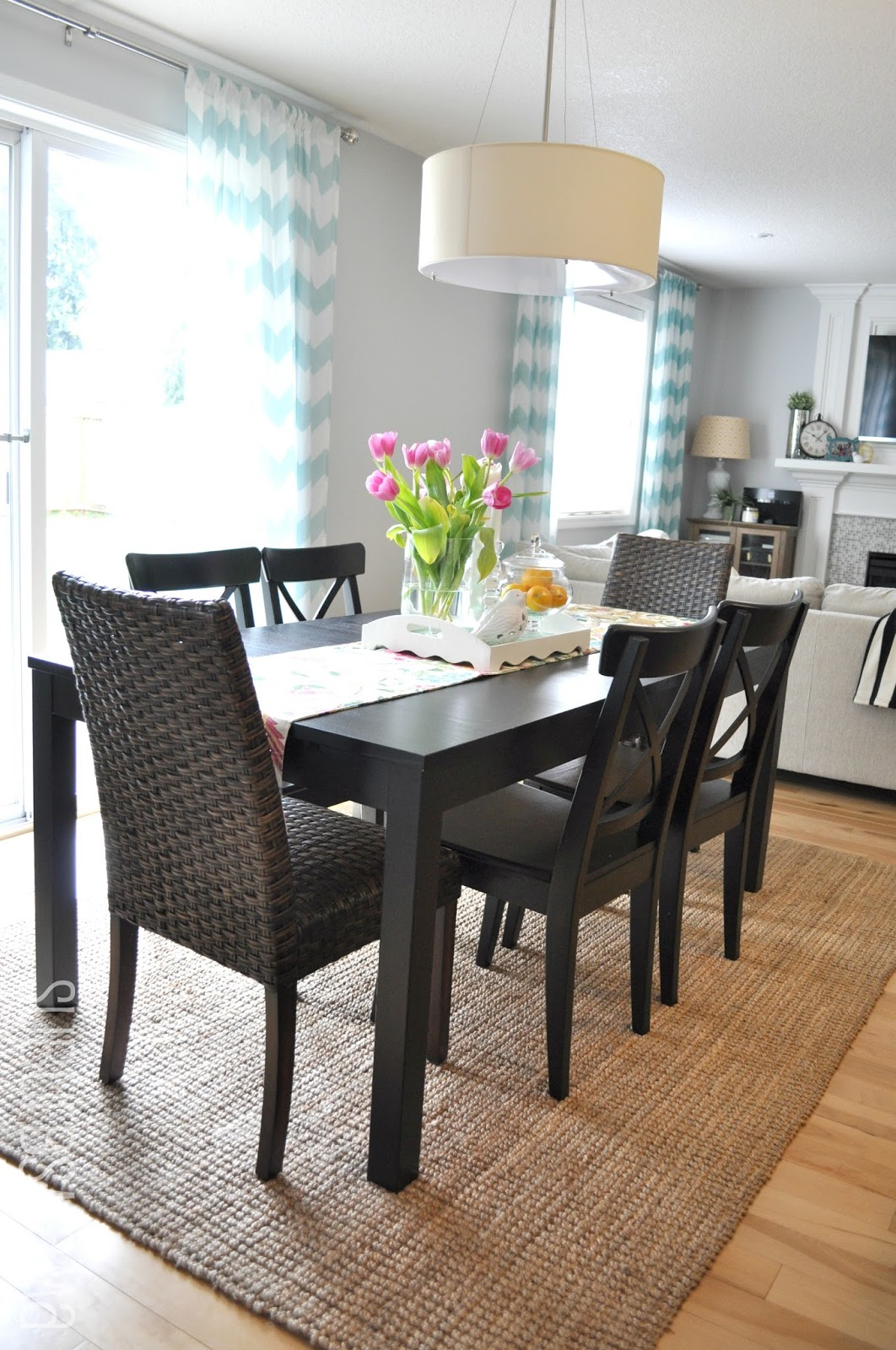 Suburbs mama dining area third times the charm for Dining table rug