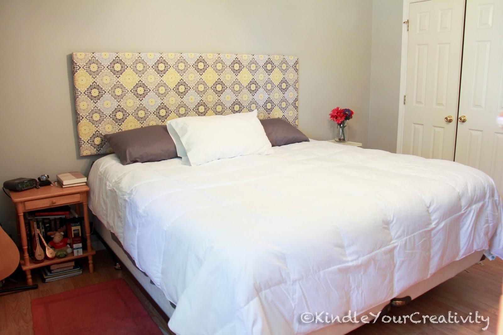 Kindle your creativity master bedroom redo diy fabric headboard - Spalliera letto imbottita fai da te ...