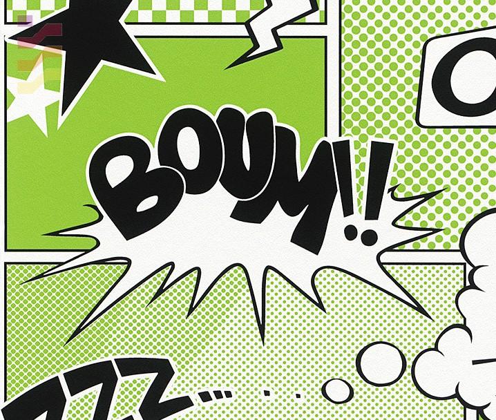 tapeta do pokoju dziecięcego zielona, komiks