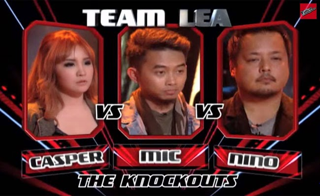 The Voice of the Philippines Season 2 Knock Out Rounds Team Lea; Casper Blancaflor,Mic Llave and Nino Alejandro