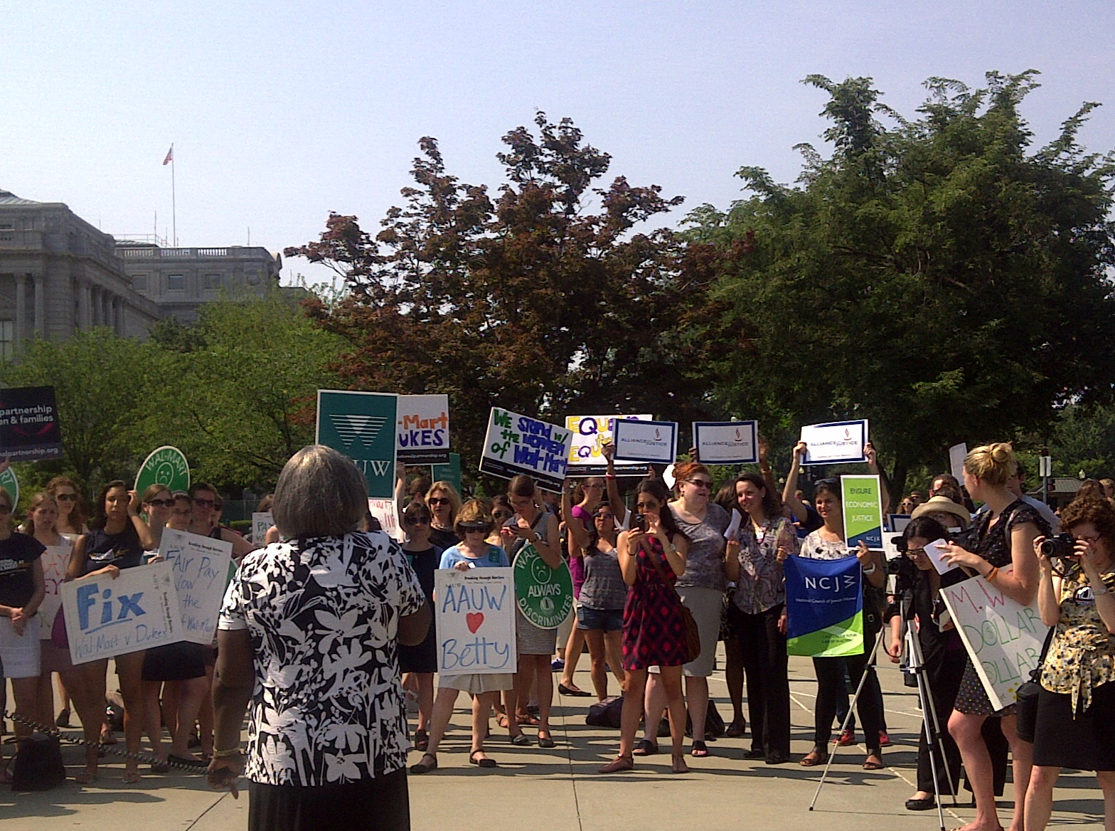 wal mart v dukes betty dukes joins the crowd outside the supreme court building