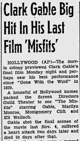 Newspaper article, 1961 review The Misfits pt.1