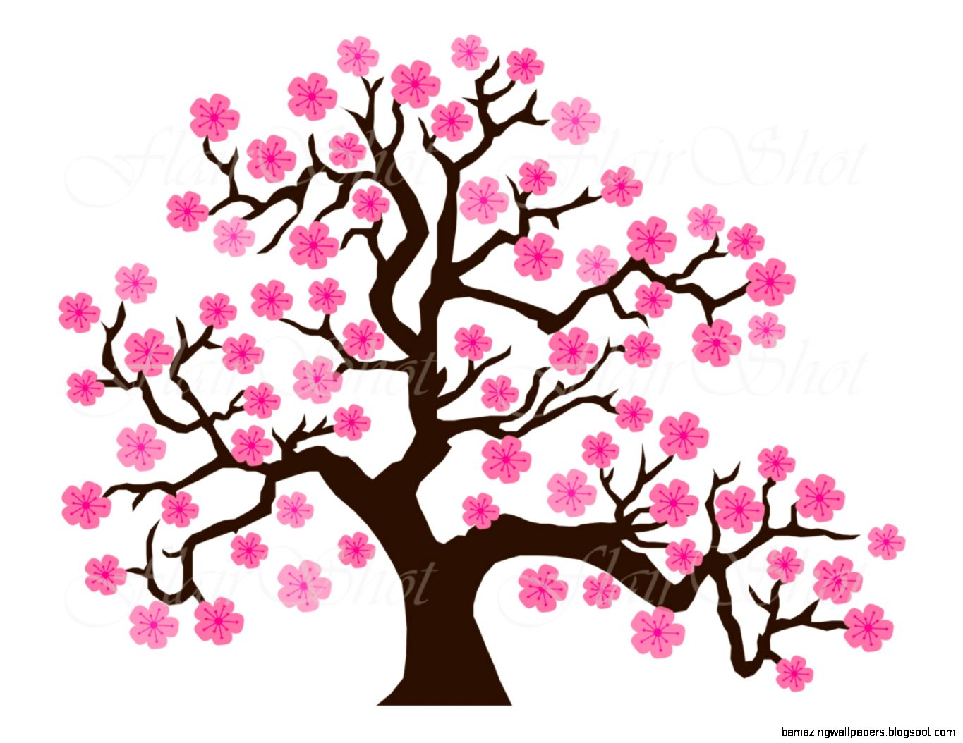 Digital Clip Art Pink Cherry Blossom Tree Clipart by Flairshot