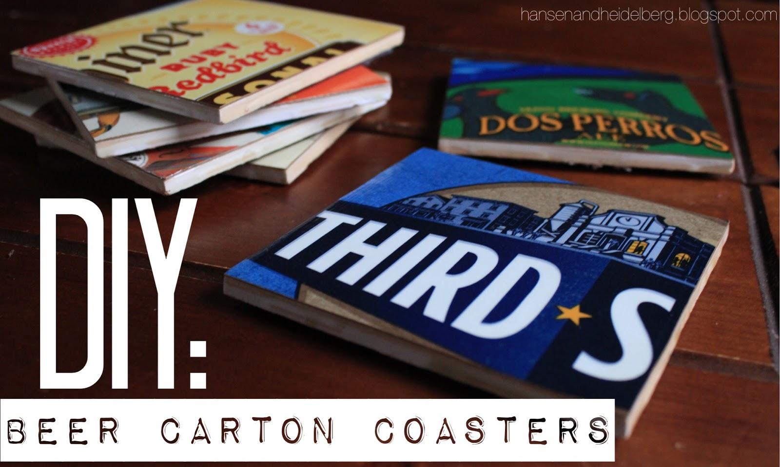 diy beer carton coasters, men's gifts, diy gifts