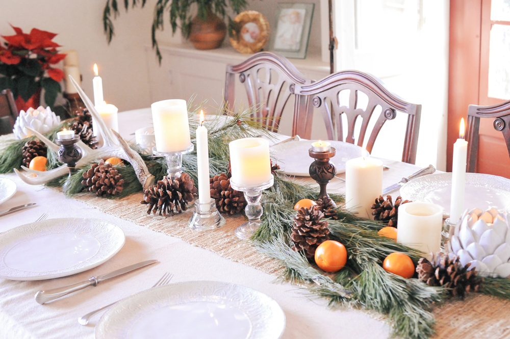 DIY White Modern Christmas Tablescape