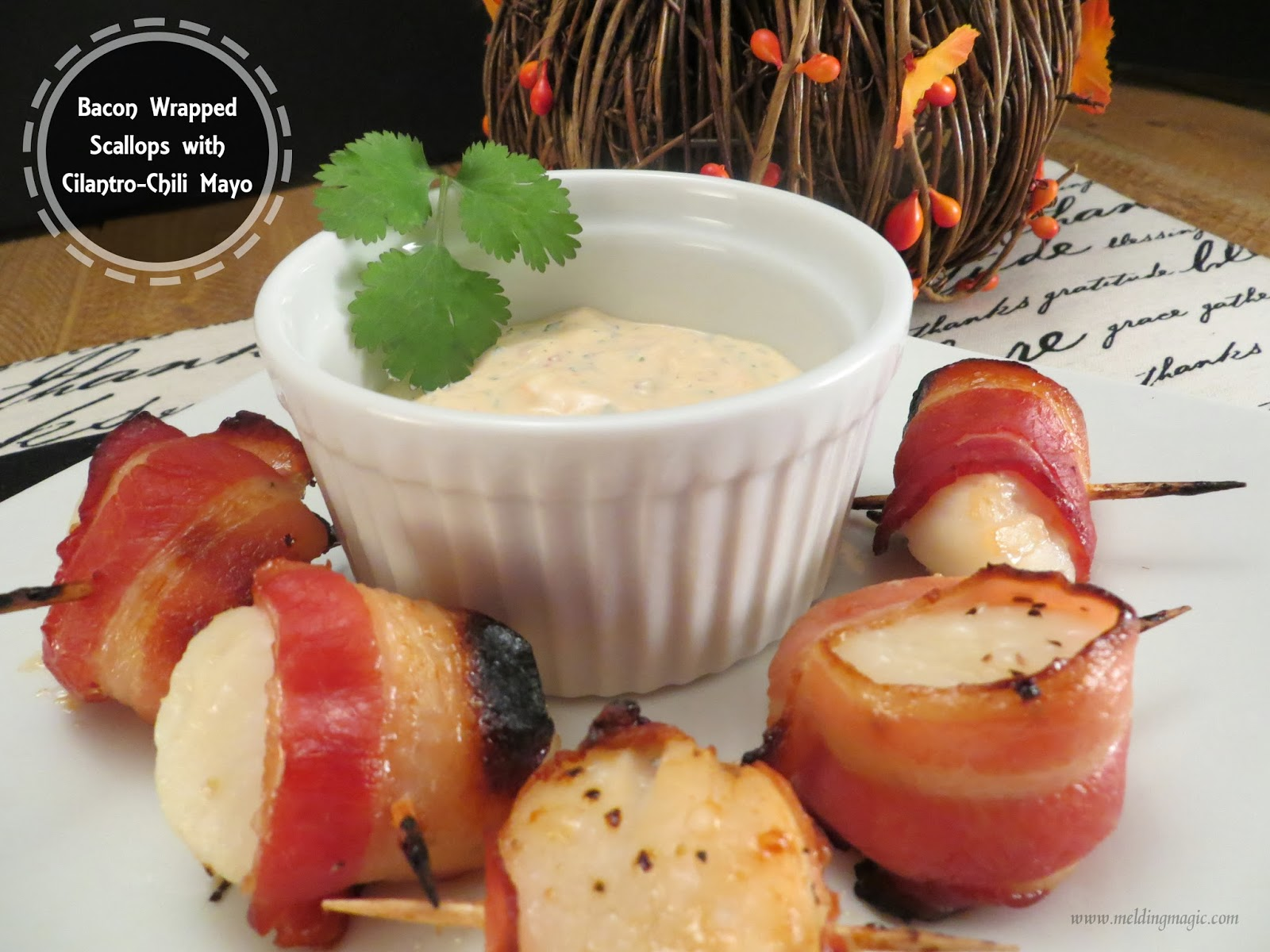 Bacon Wrapped Scallops with Spicy Cilantro Mayonnaise