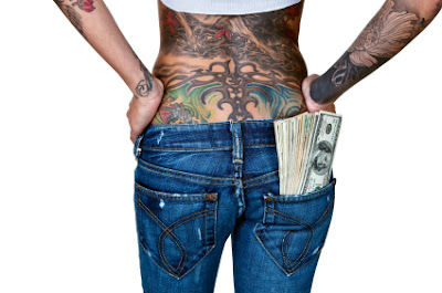 Woman with a full back, or full-body tattoo