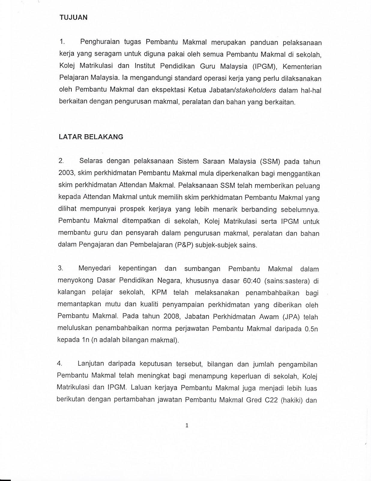 Kesatuan Sekerja Kakitangan Makmal Kskm Cawangan Negeri Perak Penghuraian Tugas Pembantu Makmal C17 C22 Dan C26 Kpm Berkuatkuasa 2 Mei 2013