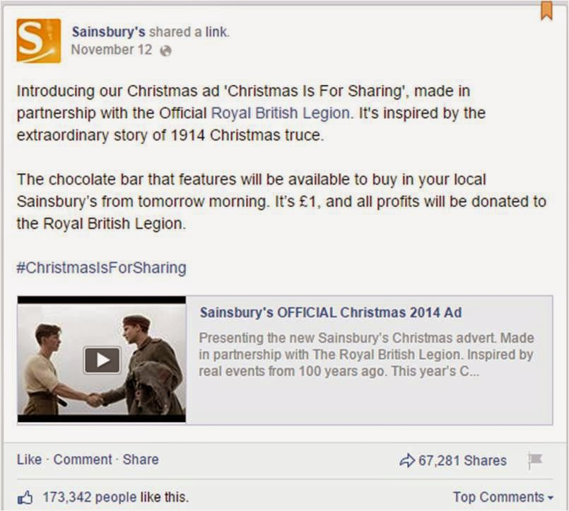 sainsburys christmas tv ad facebook post