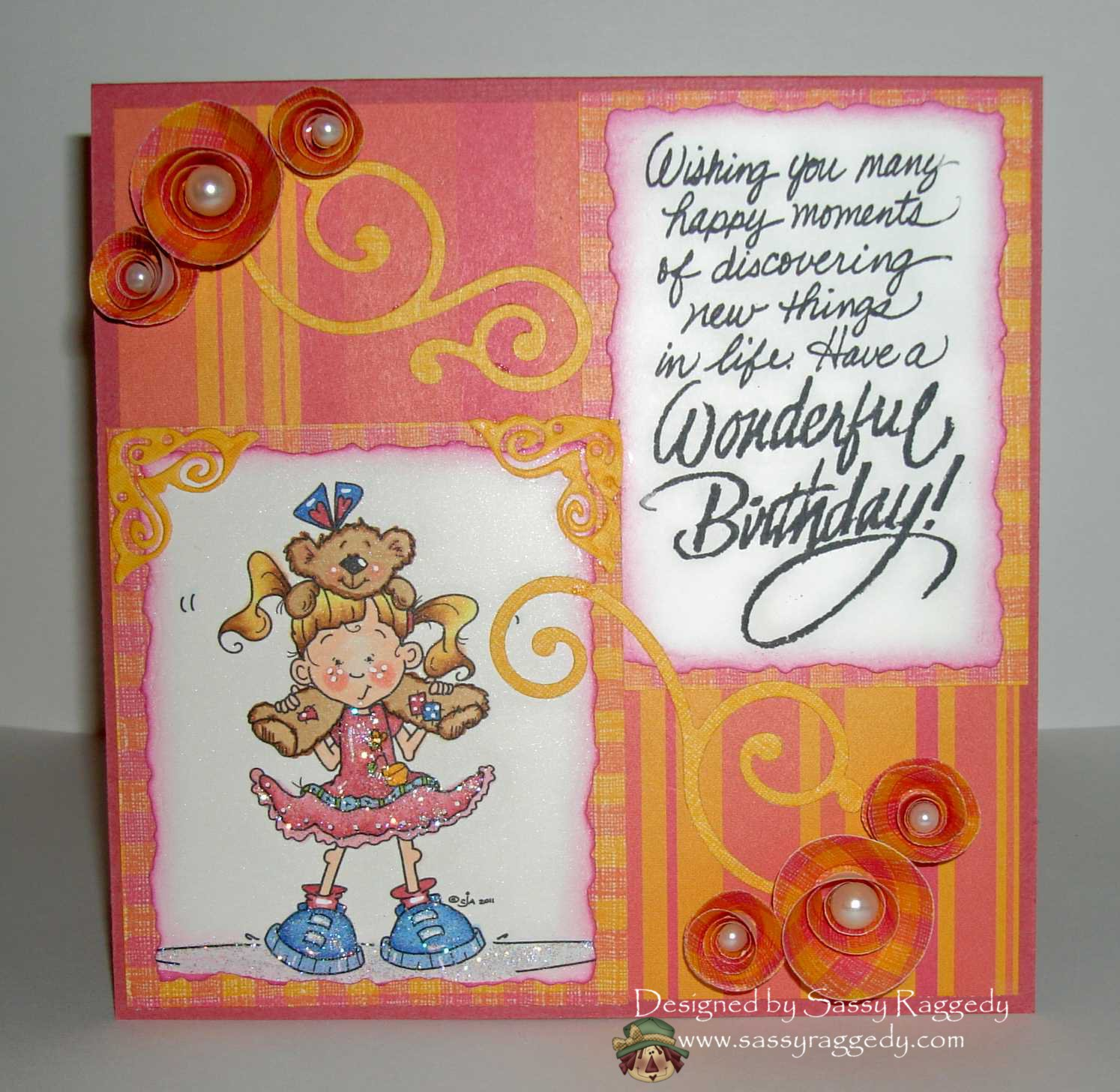 "sassy raggedy ""happy birthday with lucy lou"", Birthday card"