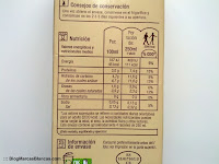Información nutricional de la leche ecológica semidesnatada Carrefour BIO.