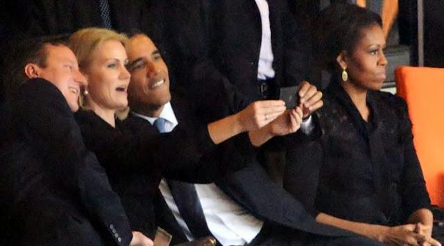 Foto Narsis Barack Obama dengan PM Cantik Denmark, Helle Thorning-Schmidt