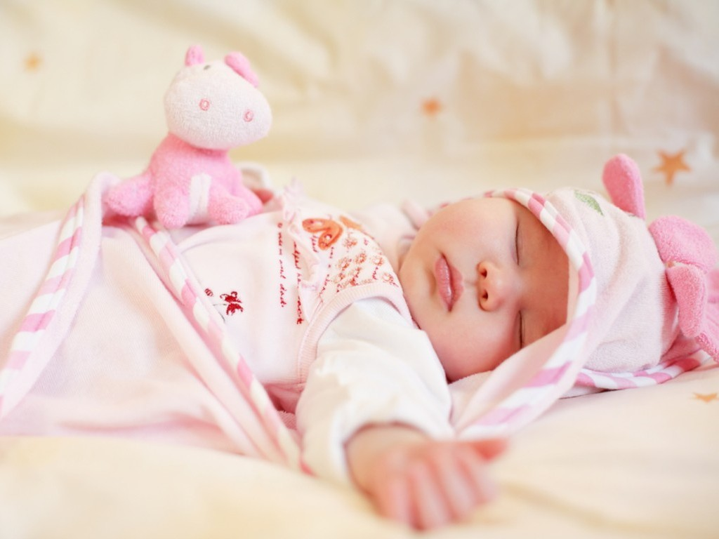 Cute Little Baby Sleep With Small Pink Teddy Hd Wallpaper