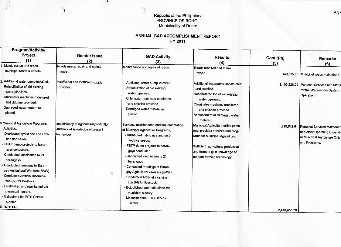 Accomplishment Report Samples