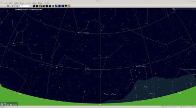 PC-BSD 9.1でデスクトップ・プラネタリウムを起動し、星座を見たみた。