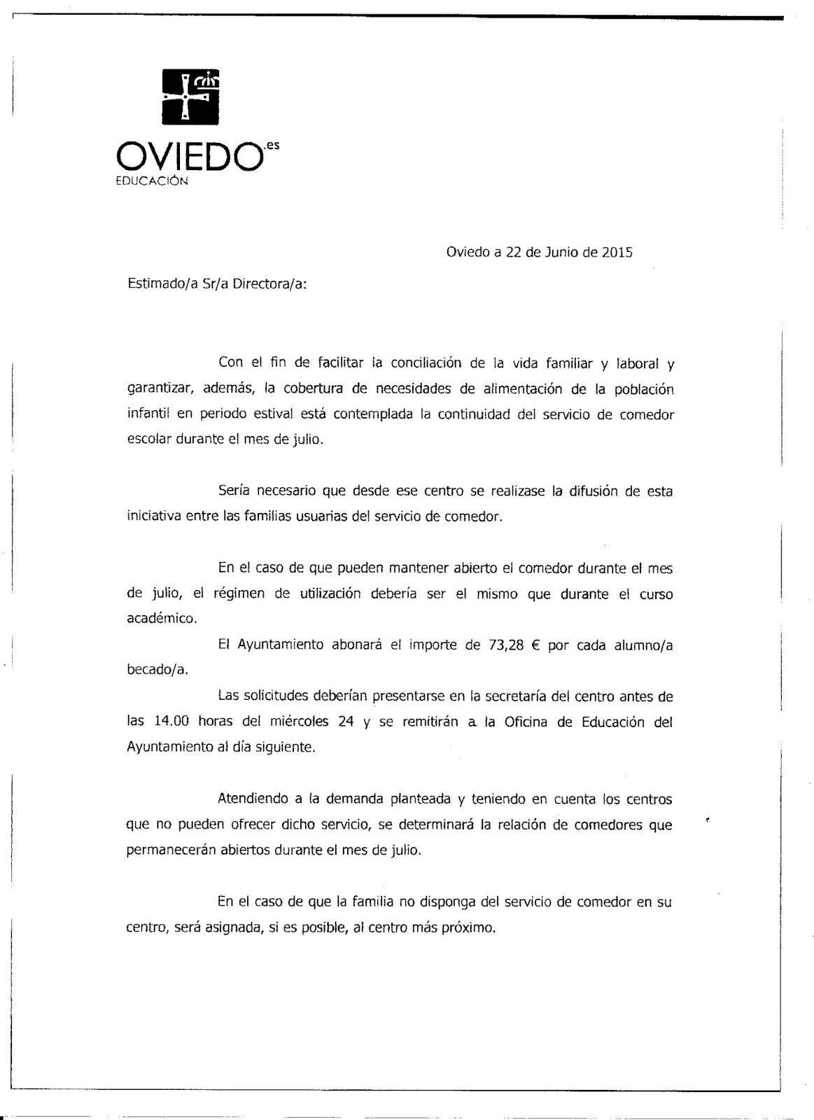 Colegio Sagrada Familia de Oviedo: Comedor Escolar en Julio