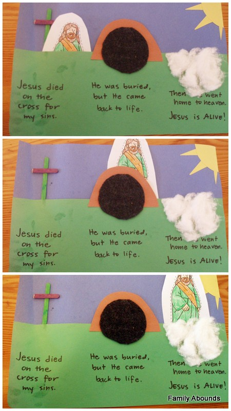 Family abounds easter salvation storyboard craft for Jesus is alive craft ideas