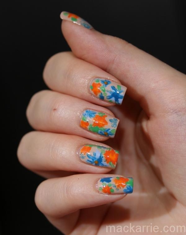 MacKarrie BeautyStyle Blog: Flower Nail Design Orange&Blue