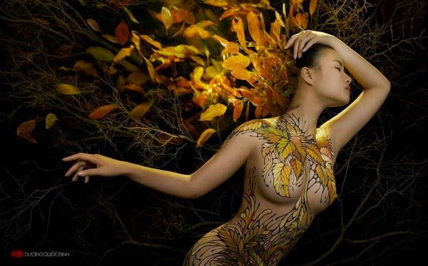 Ảnh gái xinh Body painting của Dương quốc định 1