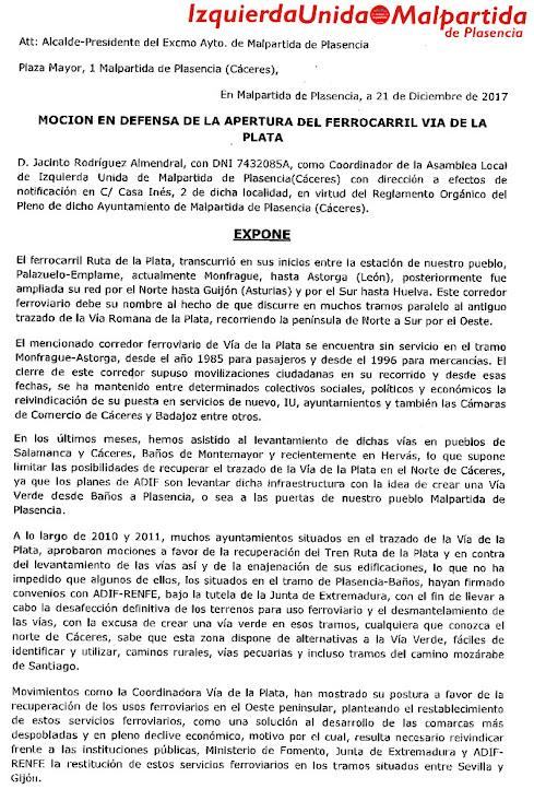 MOCIÓN DE IZQUIERDA UNIDA MALPARTIDA
