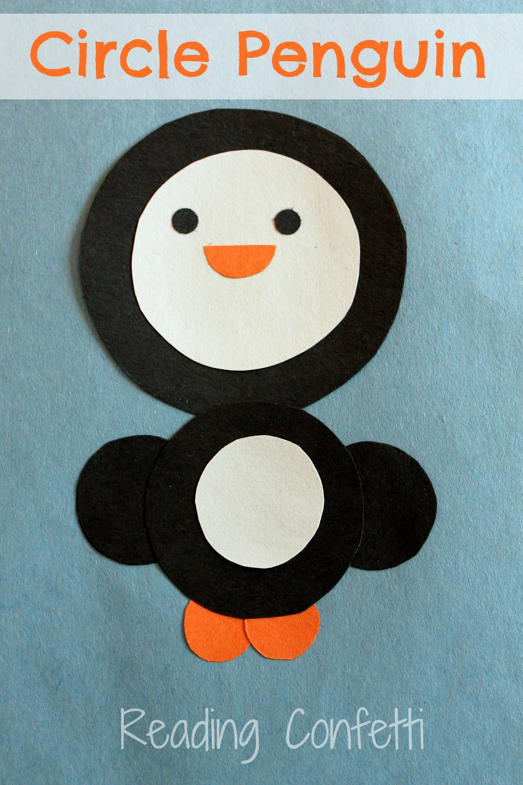 Circle penguin craft reading confetti for Penguin project