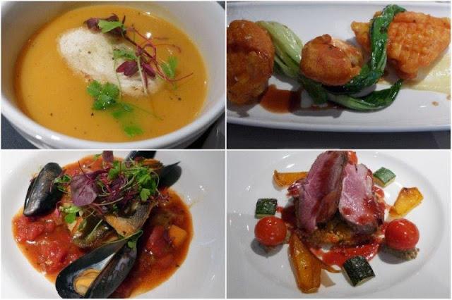Sopa de calabaza, tempura de rape, filetes de lubina, cordero - Restaurante Cocoa en Aberdeen