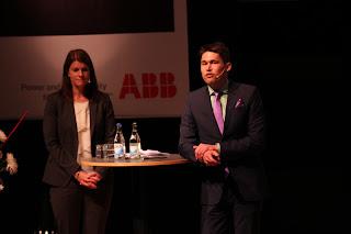 Helena Malmqvist och Joakim Forsberg, berättade om ABB:s samarbeten med universitet och högskolor. Främst KTH och Mälardalens Högskola MdH. Även samarbetsavtal med Chalmer fördes.