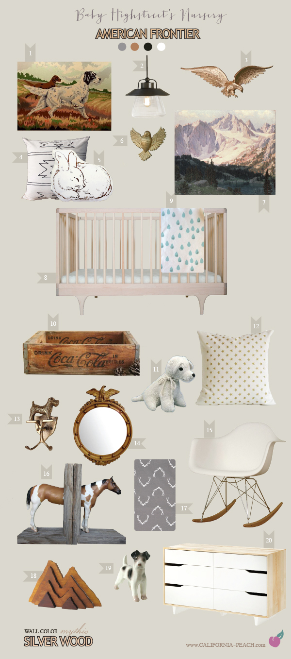 American Frontier Nursery || on California Peach || Nursery Baby Room Interior Design Style Board