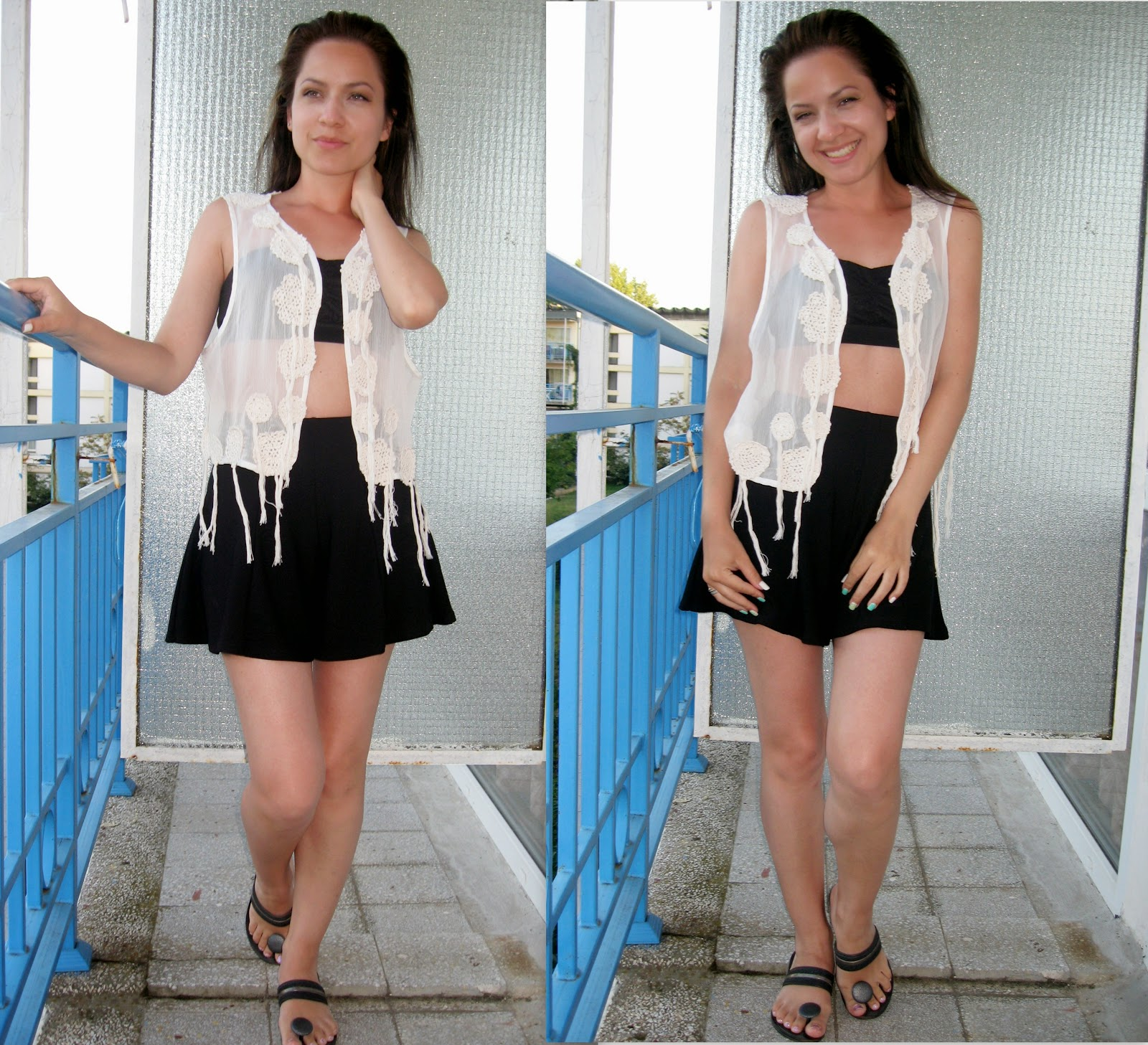 white embroidered lace crochet vest top, black bandeau top, black high waist shorts,