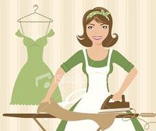 ilustración de mujer planchando y realizando tareas domésticas