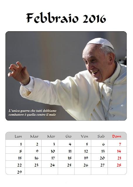 Calendario 2016 Papa Francesco - febbraio - frasi celebri