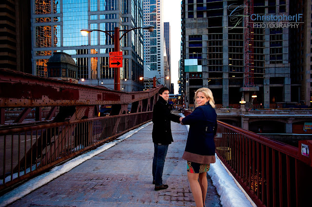 Chicago Night Engagement Photo River