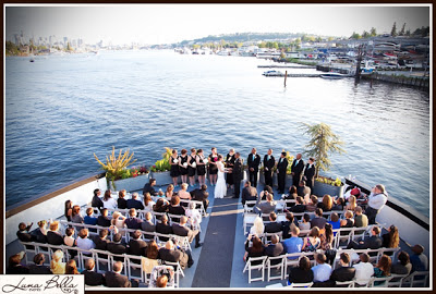 Overview of wedding ceremony officiated at Patricia Stimac, Seattle Wedding Officiant, at the Skansonia Ferry