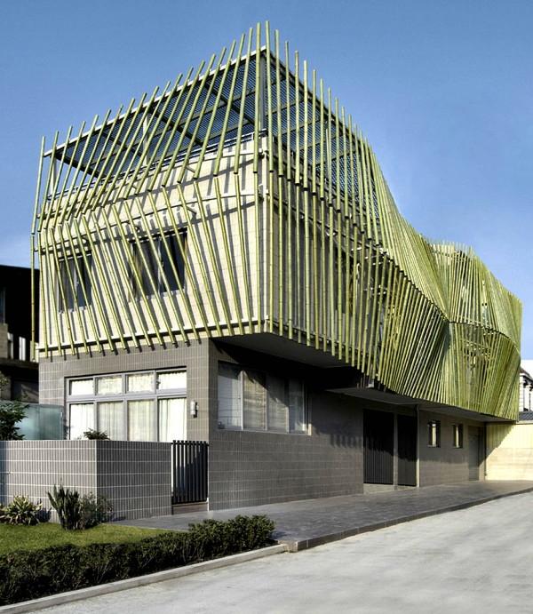 Art wall decor modern bamboo house design hawai and for Modern bamboo house plans
