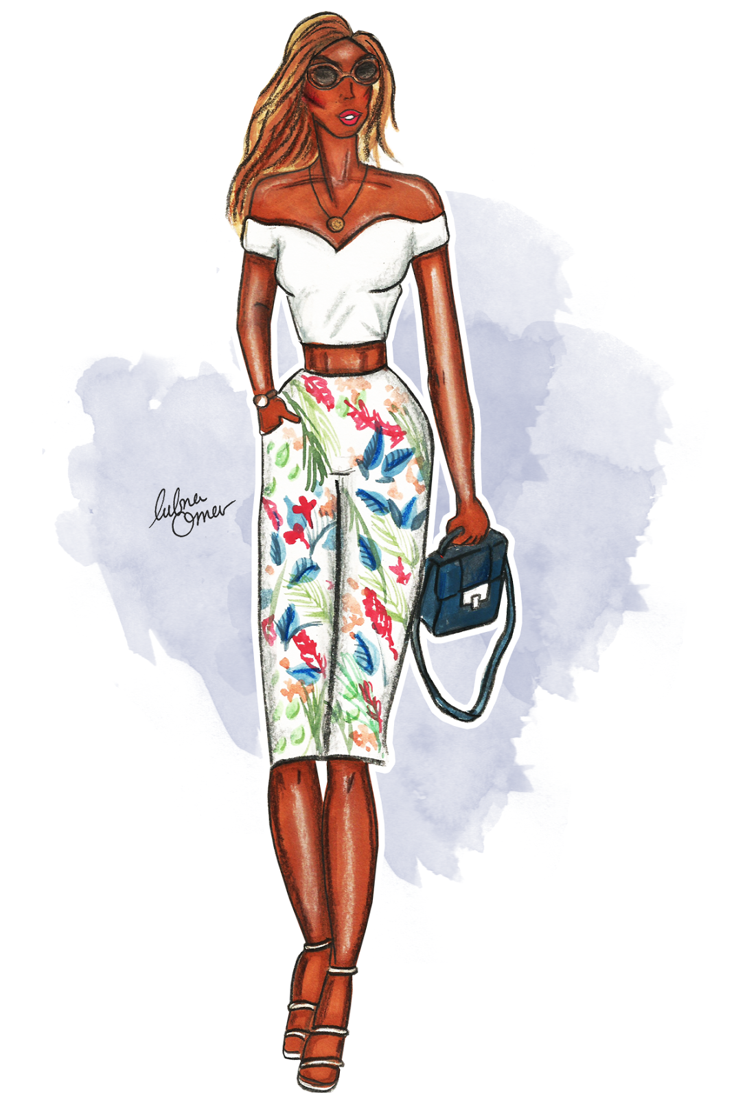 glamorous outfit illustration lubna omar