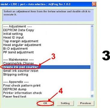 driver printer Epson l100 Resetter software